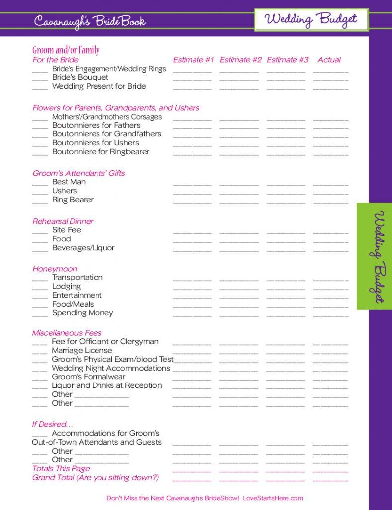 Cavanaugh S Bride Show Wedding Budget Worksheets